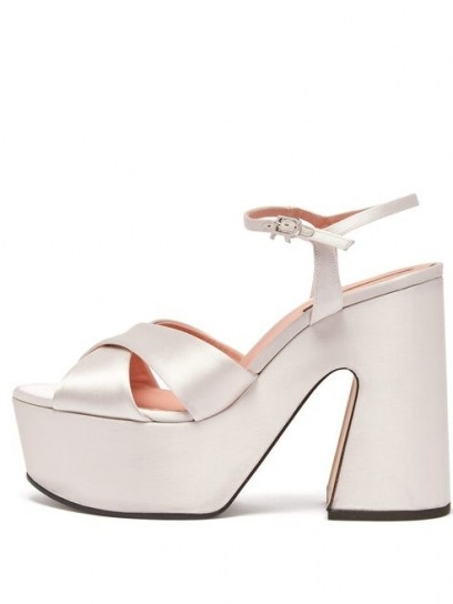 ROCHAS Satin platform sandals ~ white luxury platforms