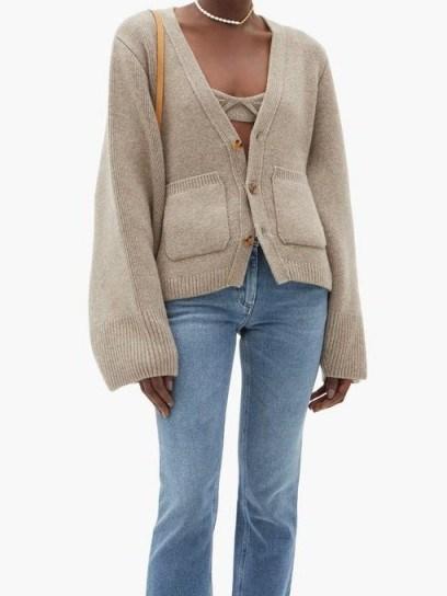 KHAITE Scarlet flared-sleeve cashmere-blend cardigan / luxury cardigans - flipped