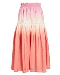 SEA Zanna Ombré Dip-Dye Skirt | pink ruffle trim skirts