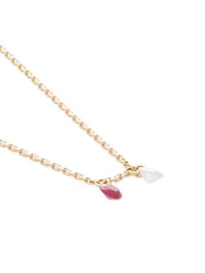 RAPHAELE CANOT Set Free diamond, ruby & 18kt gold necklace / delicate precious stone necklaces / rubies & diamonds - flipped