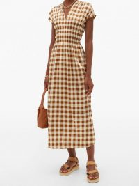 GANNI Shirred gingham silk-blend crepe dress / brown and white checked dresses