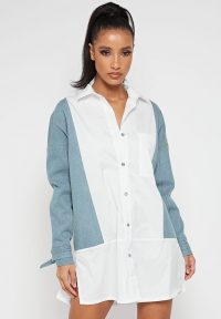 Manière De Voir SHIRT DRESS WITH DENIM PANELS WHITE | side split dresses