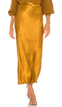 Shona Joy Wright Bias Midi Skirt Ochre | slinky satin-like skirts