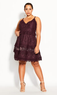 Nouveau Lace Dress – plum – The dainty, delicately laced & feminine Nouveau Lace Dress is a destined to be your next wardrobe favorite. With a flattering and timeless fit & flare silhouette, this gorgeous dress is sure to make your curves shine at your next event.