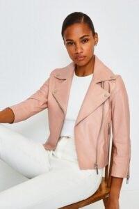 KAREN MILLEN Shrunken Leather Biker Jacket Blush / luxe zip detail jackets