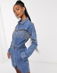 Signature 8 denim dress with rhinestone fringes in mid blue wash | fringed dresses