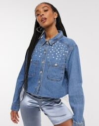 Signature 8 denim shirt with stud detail in mid wash | embellished shirts