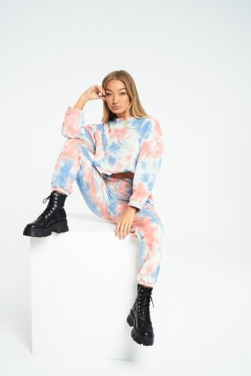 THE COUTURE CLUB SIGNATURE MULTI TIE DYE BOYFRIEND JOGGERS / multicoured jogging bottoms / cuffed hems - flipped