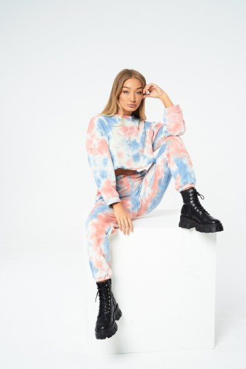 THE COUTURE CLUB SIGNATURE MULTI TIE DYE BOYFRIEND JOGGERS / multicoured jogging bottoms / cuffed hems