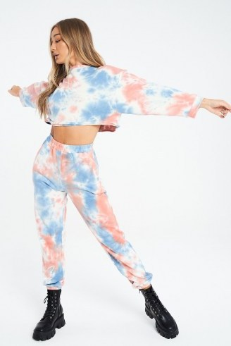THE COUTURE CLUB SIGNATURE MULTI TIE DYE CROPPED SWEATER / crop hem sweat tops - flipped