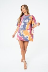 THE COUTURE CLUB SIGNATURE MULTI TIE DYE T SHIRT DRESS / tee dresses