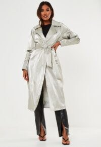 Missguided silver metallic belted trench coat ~ shiny coats