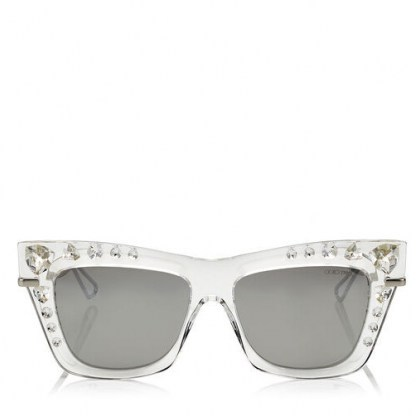 Olivia Palermo crystal cat eye sunglasses, Jimmy Choo Bee silver mirror sunglasses, out in New York, 8 July 2020 | celebrity street style eyewear - flipped