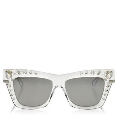 Olivia Palermo crystal cat eye sunglasses, Jimmy Choo Bee silver mirror sunglasses, out in New York, 8 July 2020 | celebrity street style eyewear