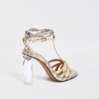 River Island Silver strappy perspex heel sandal | clear heels | metallic going out sandals