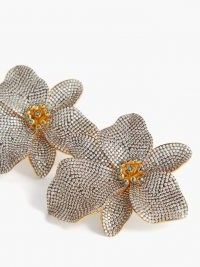 BEGUM KHAN Singapore Orchids 24kt gold-plated clip earrings / flower shaped jewellery