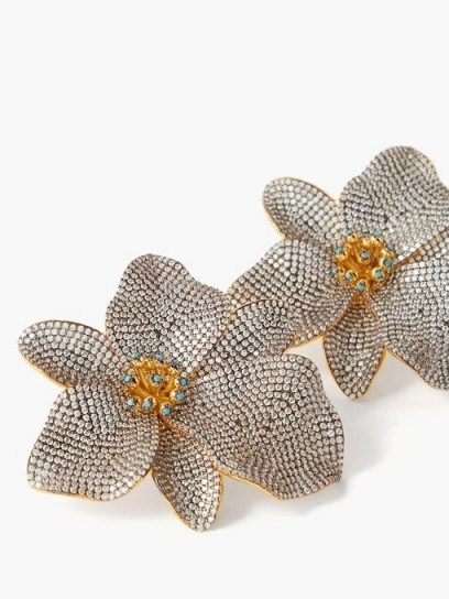BEGUM KHAN Singapore Orchids 24kt gold-plated clip earrings / flower shaped jewellery - flipped