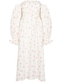 Sleeper Atlanta rose midi dress / pink and white square neck dresses