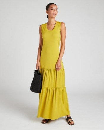 Jigsaw SLEEVELESS TIERED MAXI DRESS Pale Olive | effortless warm weather outfits - flipped