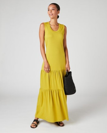 Jigsaw SLEEVELESS TIERED MAXI DRESS Pale Olive | effortless warm weather outfits