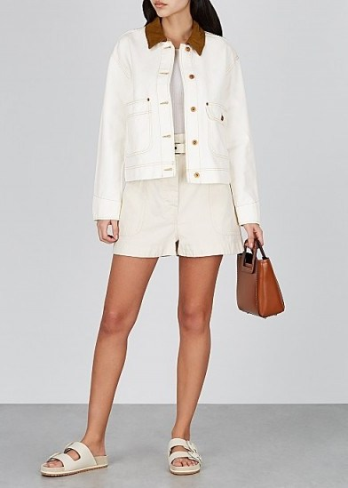 Kendall Jenner white denim jacket, SLVRLAKE New Thompson off-white denim jacket, on Instagram, 29 June 2020   celebrity casual jackets - flipped