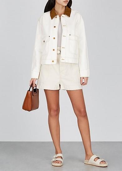 Kendall Jenner white denim jacket, SLVRLAKE New Thompson off-white denim jacket, on Instagram, 29 June 2020   celebrity casual jackets