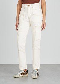 Kendall Jenner white side pocket jeans, SLVRLAKE Saviour off-white straight-leg jeans, on Instagram, 29 June 2020 | celebrity street style | models off duty fashion