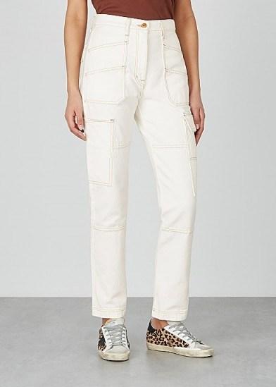 Kendall Jenner white side pocket jeans, SLVRLAKE Saviour off-white straight-leg jeans, on Instagram, 29 June 2020 | celebrity street style | models off duty fashion - flipped