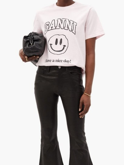 GANNI Smiley face-print jersey T-shirt / light pink short sleev tee