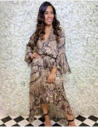 FOREVER UNIQUE Snake Print Chiffon Wrap Dress / brown-tone ruffle hem dresses