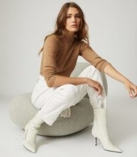 REISS SOPHIE KNITTED ROLL NECK TOP CAMEL ~ ribbed jumpers