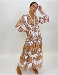 FOREVER UNIQUE Spice Paisley Print Maxi Dress
