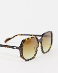 Spitfire Cut Sixteen oversized angular sunglasses in brown tort / brown tinted sunnies