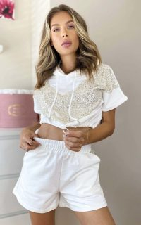 ikrush Steffy Sequin Shorts & Top Co-ord in White – shimmering summer co-ords
