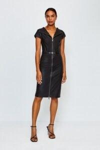 KAREN MILLEN Stretch Leather Bardot Dress / zip through dresses / LBD