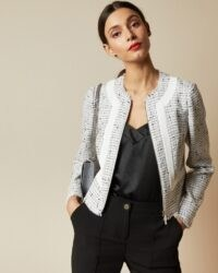 TED BAKER ADALA Stripe panel cropped jacket ~ fringe trimmed jackets