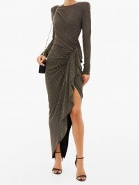 ALEXANDRE VAUTHIER Studded draped side-slit dress ~ glamorous event wear ~ statement gowns