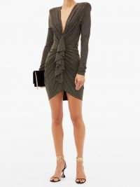 ALEXANDRE VAUTHIER Studded ruched plunge-neck jersey mini dress ~ padded shoulder dresses ~ stud covered event wear
