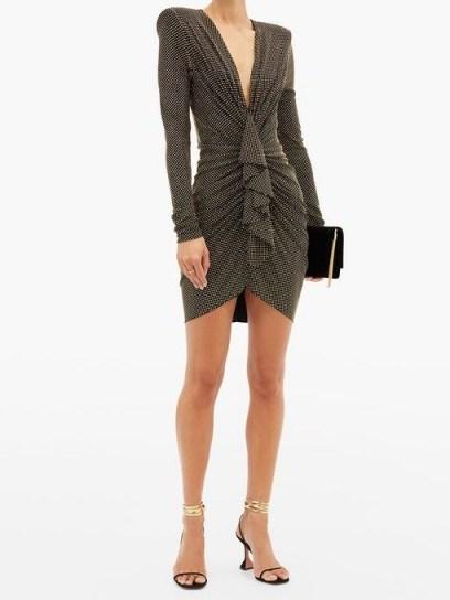 ALEXANDRE VAUTHIER Studded ruched plunge-neck jersey mini dress ~ padded shoulder dresses ~ stud covered event wear - flipped