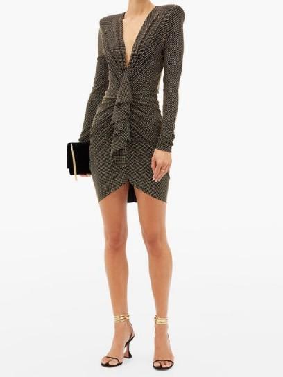 ALEXANDRE VAUTHIER Studded ruched plunge-neck jersey mini dress ~ padded shoulder dresses ~ stud covered event wear