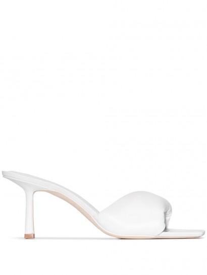 white padded square toe mule ~ Studio Amelia 3.33 75mm mules