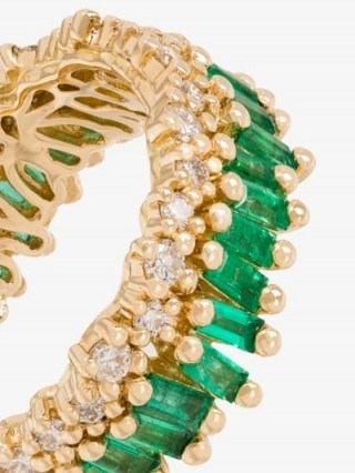 Suzanne Kalan 18K Yellow Gold Fireworks Short Stack Emerald And Diamond Ring / green gemstone bands / luxe rings - flipped