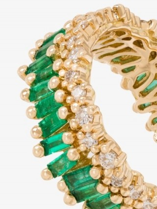 Suzanne Kalan 18K Yellow Gold Fireworks Short Stack Emerald And Diamond Ring / green gemstone bands / luxe rings
