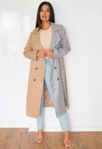 Missguided tall cream spliced check trench coat ~ half and half tie waist coats