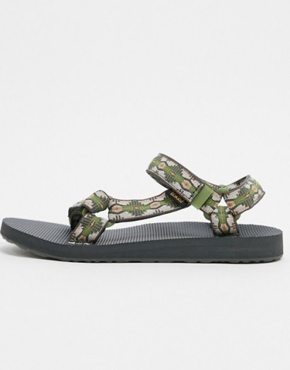 Teva original universal sandals in green canyon print - flipped