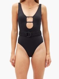 SOLID & STRIPED The Beatrice plunge-neckline belted swimsuit ~ black cut out swimsuits