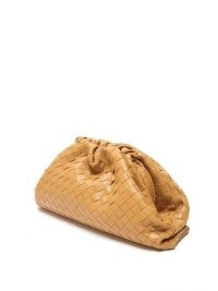 BOTTEGA VENETA The Pouch Intrecciato leather clutch ~ tan woven handbags