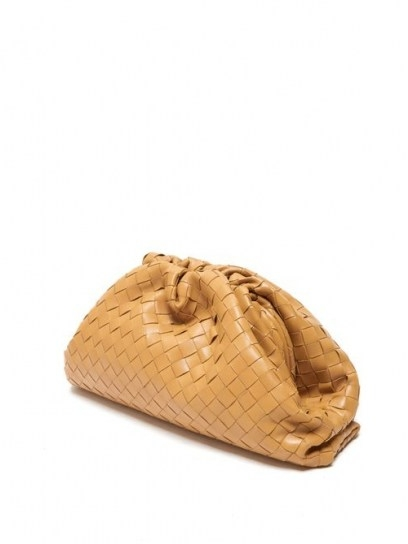 BOTTEGA VENETA The Pouch Intrecciato leather clutch ~ tan woven handbags