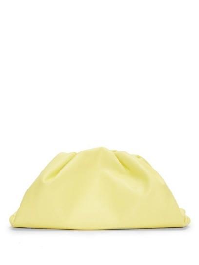 BOTTEGA VENETA The Pouch large yellow-leather clutch bag