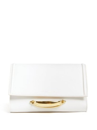 ALEXANDER MCQUEEN The Story small white-leather clutch bag ~ front handle event bags - flipped